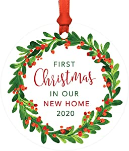 Andaz Press Round Metal Christmas Ornament, First Christmas in Our New Home 2020, Red Green Holiday Wreath, 1-Pack, Includes Ribbon and Gift Bag