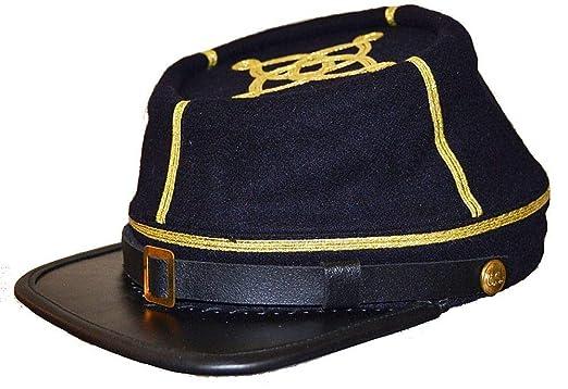 US Civil War Confederate Leather Peak Captain s Kepi Cap at Amazon Men s  Clothing store  d0639d93f341