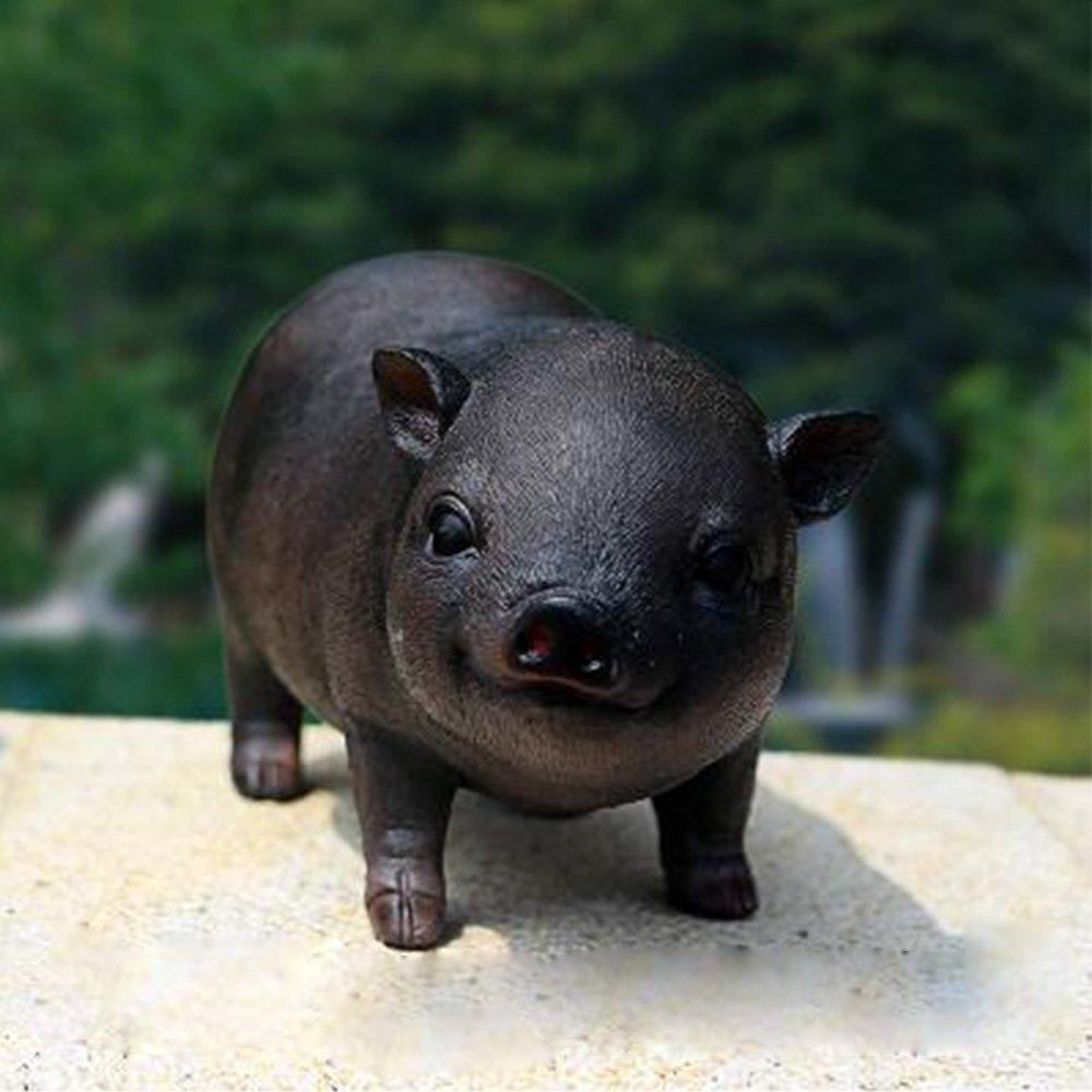 PIG Home Decor Patio, Lawn & Garden Outdoor Décor Garden Sculptures & Statues Decorative Stones Decor (Black 2)