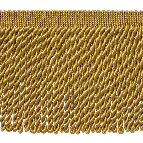 - 6 Inch Long GOLD Bullion Fringe Trim, Basic Trim Collection, Style# BFS6 Color: C4, Sold By the Yard