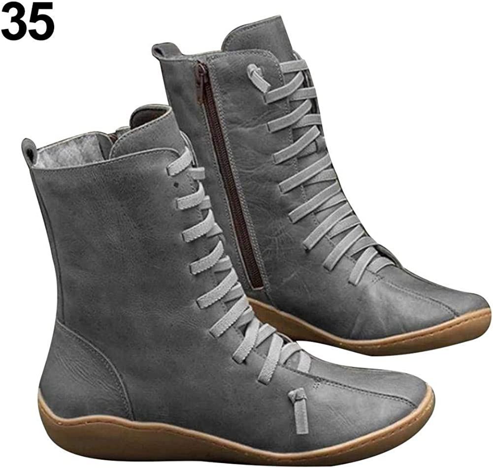 Lorumek Amasstu Womens Arch Support Boots Retro Waterproof Ankle Boots Ladies Fashionable Casual Shoes Outdoor Anti-Slip Walking Boots for Travel and Daily Wear Reasonable
