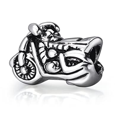 ba50e8801 Image Unavailable. Image not available for. Color: EvesErose Silver  Motorcycle Bead Sterling Charm Fits ...
