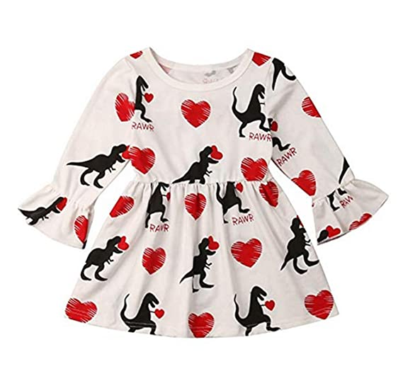 57203af93 Dookingup Toddler Baby Girls Valentine's Day Dress Heart Dinosaur Print  Pleated Princess Dresses Long Sleeve Ruffles