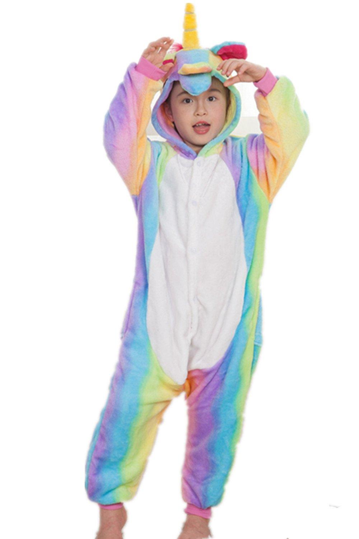 Kenmont Kids Unicorn Pyjamas Halloween Cosplay Costume One-Piece Pajamas Homewear (115, Rainbow)