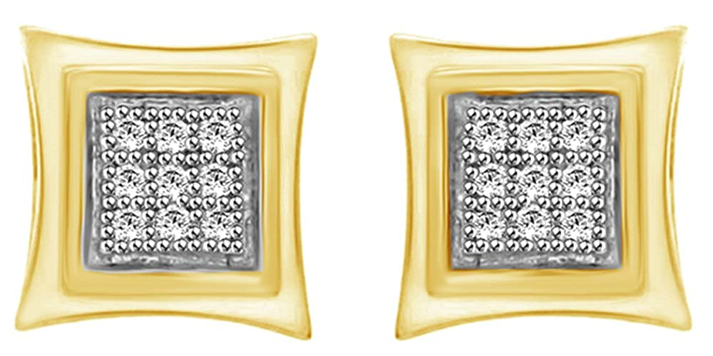 0.06 Cttw Round Cut Cubic Zirconia Stud Earrings in14k Yellow Rose Gold Over Sterling Silver