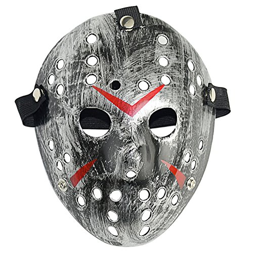 L'VOW Horror Resin Freddy Vs Jason Hockey Mask Cosplay Halloween Costume Prop (Silver)