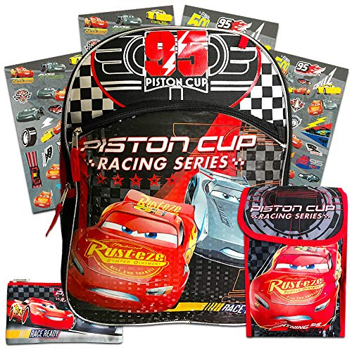 Disney Cars Backpack Set for Boys Teens ~ 4 Pc Deluxe 16