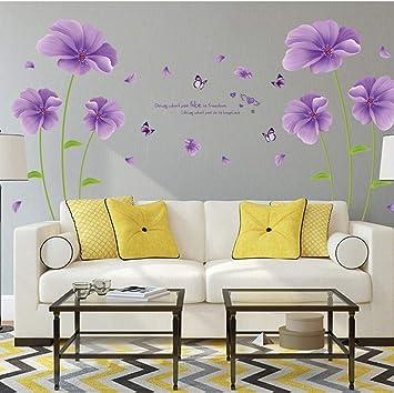 Qtxingmu Wall Sticker Lila Traum Blumen Schlafzimmer
