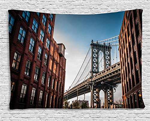 Ambesonne New York Tapestry, Manhattan Bridge Seen from Narrow Alley Island Borough Globally Influential Town NYC, Wall Hanging for Bedroom Living Room Dorm, 60 W X 40 L Inches, Blue Red -