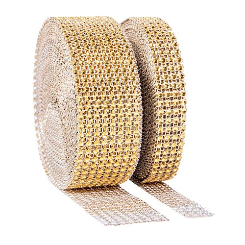 1 Roll 8 Row 10 Yard and 1 Roll 4 Row 10 Yard Acrylic Rhinestone Diamond Ribbon for Wedding Cakes, Birthday Decorations, Baby Shower Events, Arts Projects Rhinestones for Crafts (Silver, Gold)