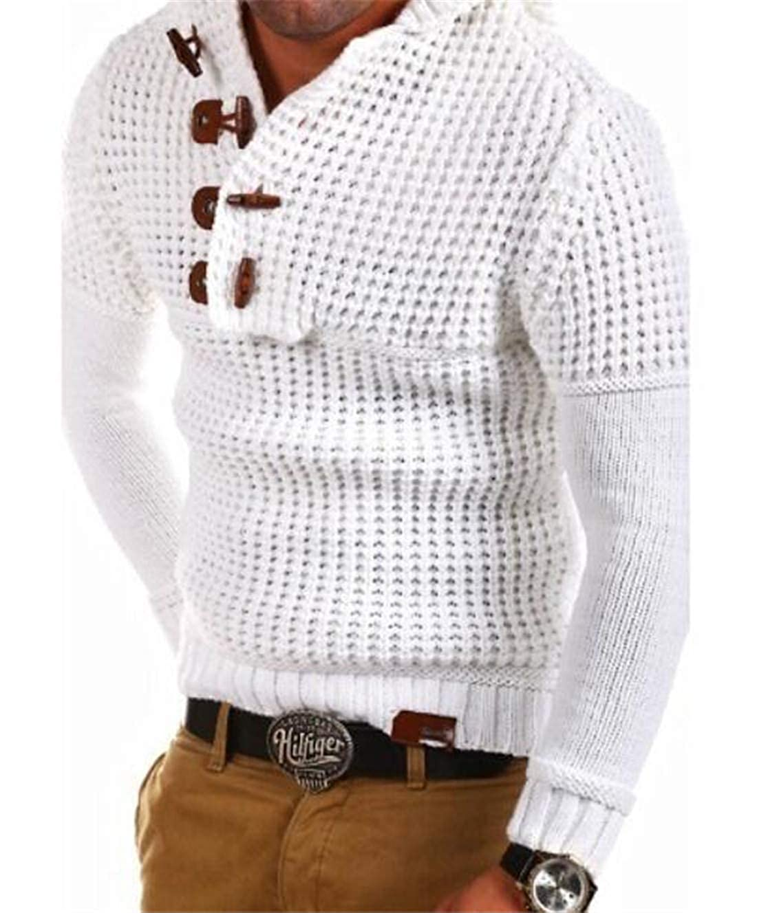 BLTR Men Solid Color Winter Long Sleeve Double Breasted Knit Sweater
