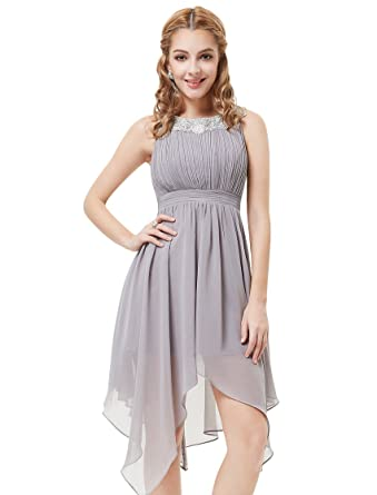 Ever Pretty Womens High Low Semi Formal Party Dress 10 Uk Gray