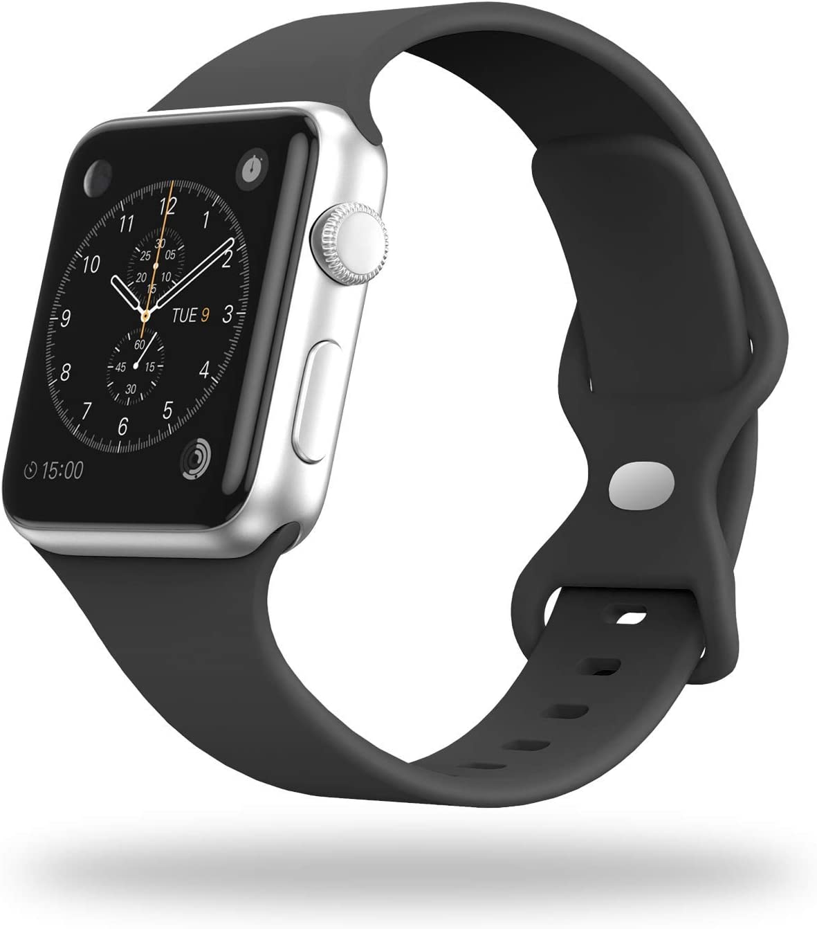 STG Smart Watch Band Compatible with Apple Watch Band 38mm 40mm 42mm 44mm, Soft Silicone Replacement Sport Strap Compatible for iWatch SE Series 6/5/4/3/2/1 (38/40mm, Black)