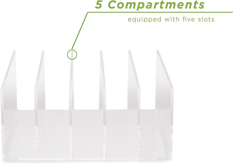 Clear Acrylic Mind Reader A5CFILE-CLR 5 Compartment Vertical Holder Desktop File Sorter Organizer Folder
