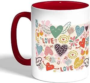 Romantic Printed Coffee Mug, Red Color (Ceramic)