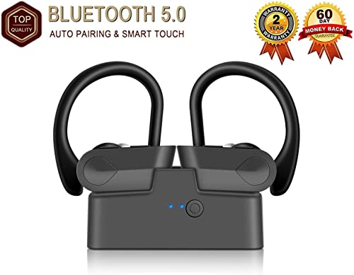 Sports earplugs, Completely Transparent White Appearance, Stylish high-end Internal Bluetooth Headphones, 5.0 HD Bluetooth Stereo Headphones, Suitable for Android, Apple