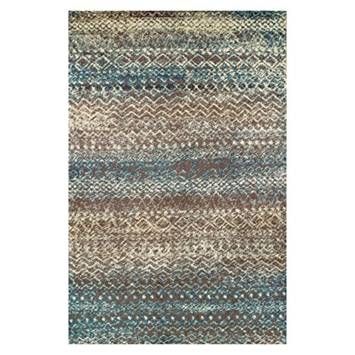 Superior Sunderland Collection Area Rug, 10mm Pile Height with Jute Backing, Fashionable and Affordable Rugs, Distressed Abstract Moroccan Rug Design - 5' x 8' Rug, Taupe and Ivory