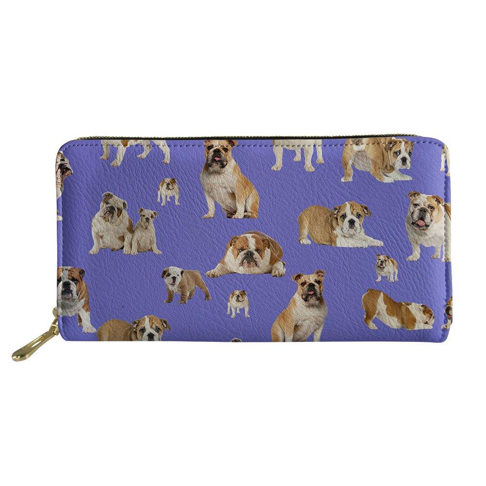 doginthehole American Bulldog Women Wallet Zip Around Clutch Ladies Travel Coin Purse