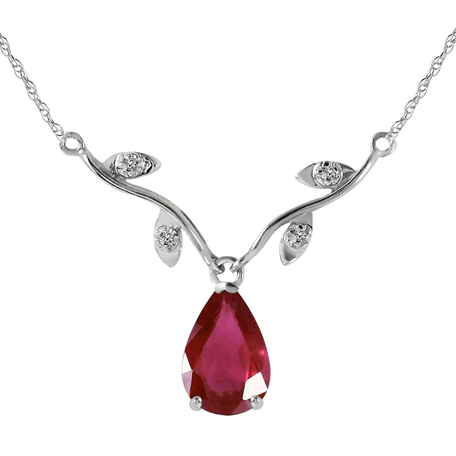14k 16'' Solid White Gold 1.52 Carat Natural Ruby Diamond Pendant Necklace