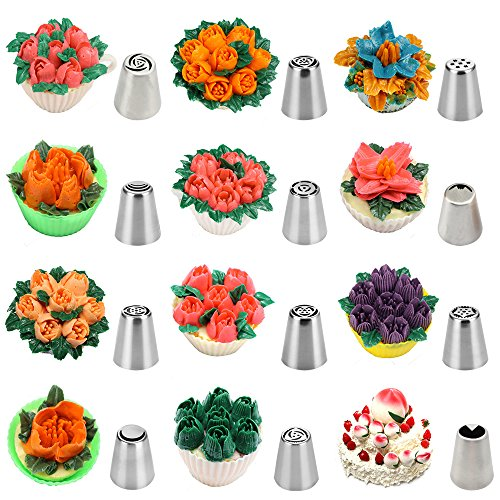 FireBee Russian Piping Tips Set 24 Pcs for Cake Decorating Supplies Kit with 12 Large Flower Icing Nozzles 10 Disposable Pastry Bags 2 Tri-Color Couplers by FireBee (Image #1)