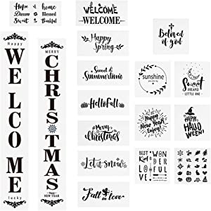 Souarts Welcome Home Stencil Kit Large Welcome Sign Stencils Reusable Template Sweet Home Seasonal Letter Stencils for Porch Front Door of Home or Painting on Wood Wall.