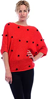 product image for Womens 3/4 Dolman Sleeve Pom Pom Dot Holiday Winter Knit Sweater Top