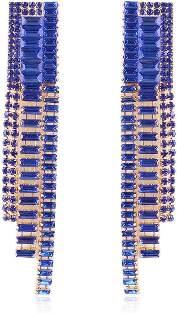 Aymsm Pendientes de Borla Multicolores Populares de Cristal de aleación de Estilo Europeo y Americano, Azul Zafiro de diseño de atmósfera de Alta Gama