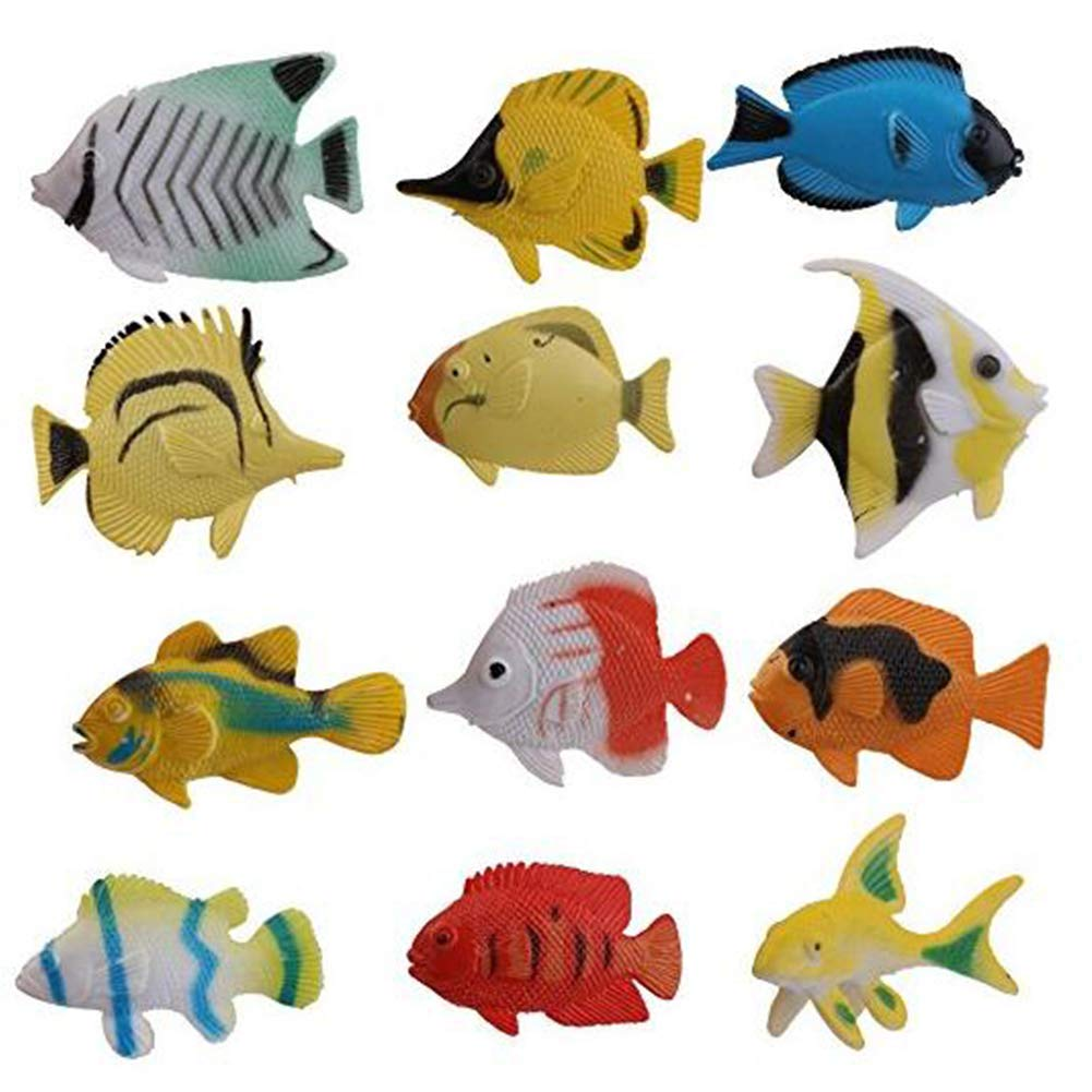 JER 12st Tropische Fische Figuren Ozean Seegeschöpf Spielzeug aus Kunststoff Sea Tierfiguren Set Display Modell Sammlung Spielzeug Toy and Games