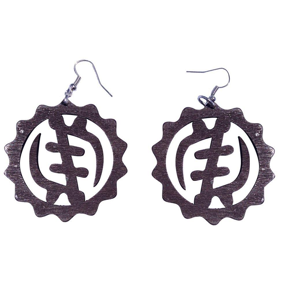 Gye Nyame Earrings / Natural Hair / Adinkra Symbol Earring / African Wood Jewelry (Brown)