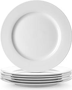 DOWAN Porcelain White Dinner Plates Set - Round Dessert Salad Serving Plates 8 Inch, Microwave & Dishwasher Safe Ceramic Plates for Party, Kitchen, Wedding
