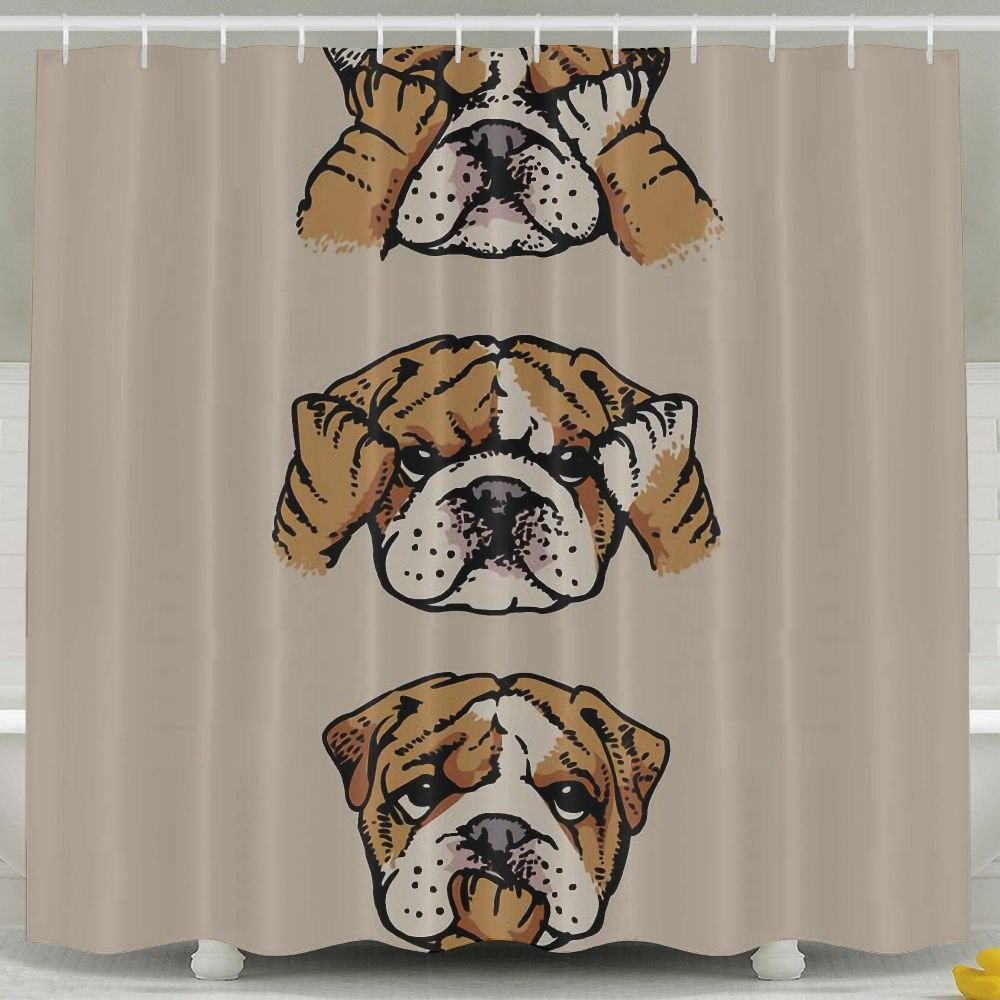 Amazon English Bulldog Fashion Shower Curtain Deluxe Waterproof Bath Home Kitchen
