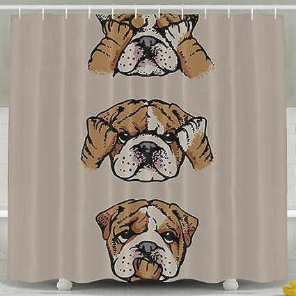 English Bulldog Fashion Shower Curtain Deluxe Waterproof Bath
