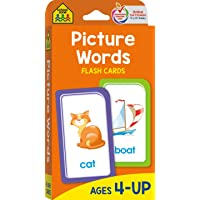 School Zone - Picture Words Flash Cards - Ages 4 and Up, Preschool to Kindergarten, Phonics, Early Reading Words, Sight…