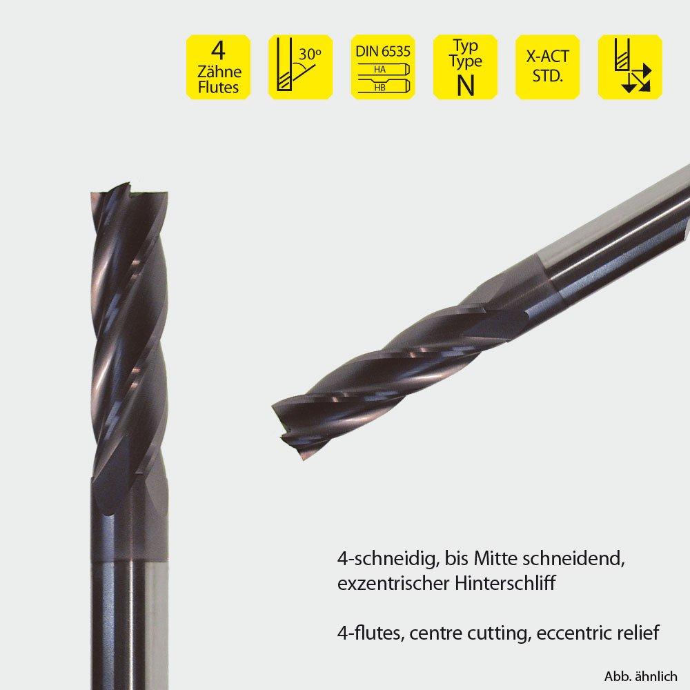 1Stück VHM-Fräser - Vollhartmetallfräser 4 Schneiden, STANDARDLÄNGE Ø1mm bis 25mm (nach Auswahl) 30° Drall, TIALN Beschichtung (1mm) X-ACT VHD D4