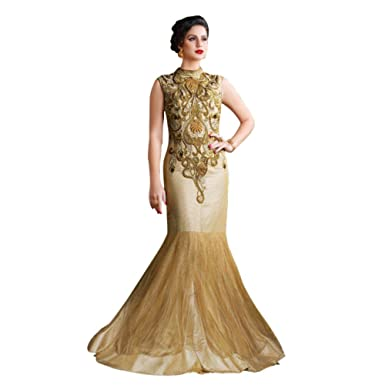 Lifestyle Women's Net Gown Dress Material (SL4607_Golden_Free Size ...