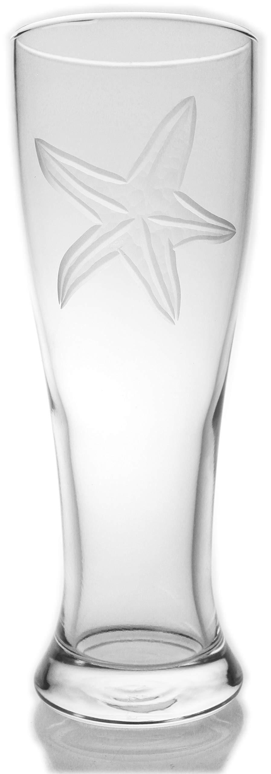 Set of 4 Rolf Glass 16oz. Starfish Pilsner