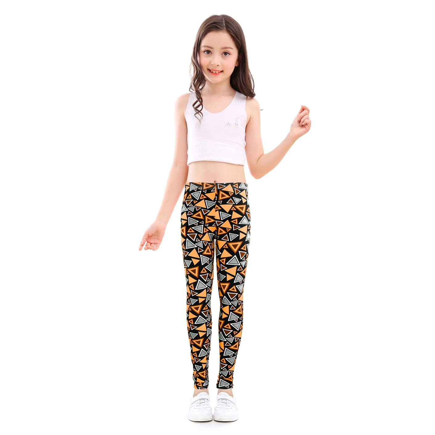 slaixiu Girls Leggings Stretchy Kids Pants Classic Printing Flower Pattern(GP02_No.4_70#)