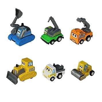 6 Baufahrzeuge mit Rückzug Auto Spielzeug mit Malbuch in Einem Set ...