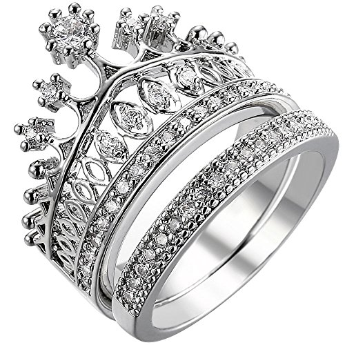 XAHH Women 18K White Gold Plated Wedding Engagement Ring Set for Bridal Princess Crown Tiara CZ Crystal Best Anniversary Promise Band Size 10 ()