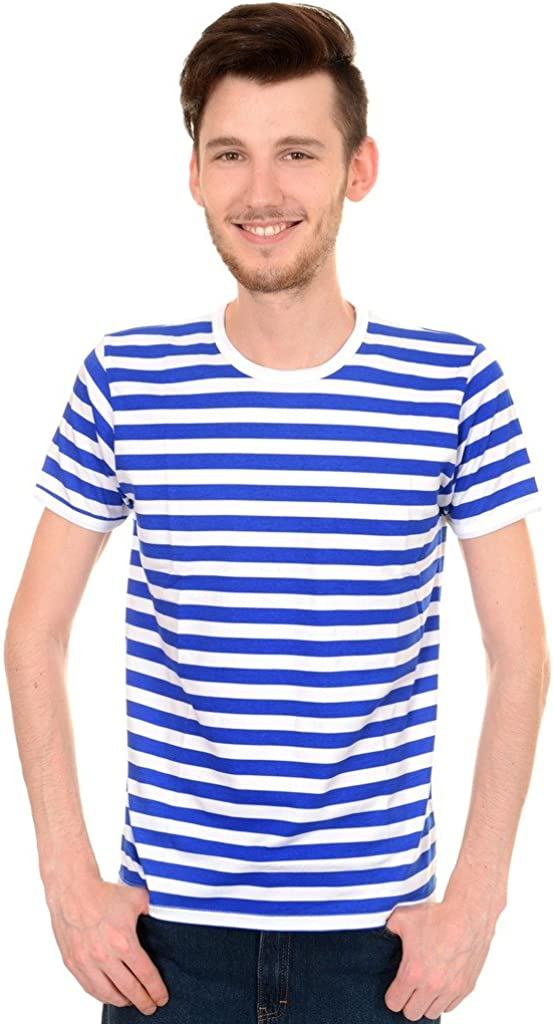 T-shirt Striped Royal Blue and White Long Sleeved Men/'s