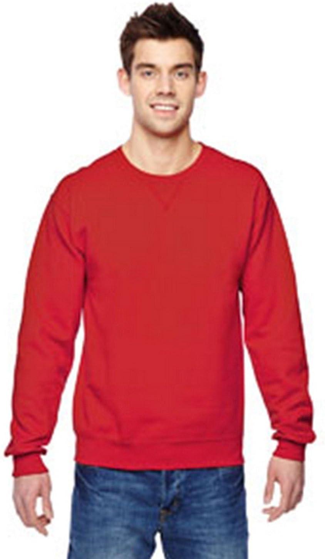Fruit of the Loom mens 7.2 oz. Sofspun Crewneck Sweatshirt(SF72R)-FIERY RED-L
