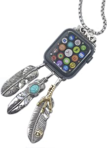 Lemonadeus Unique Apple SmartWatch Neck Chain of Series 4 3 2 1 Stainless Steel Chain Necklace Smartwatch Band Fit Apple SmartWatch All Models (42/44mm)