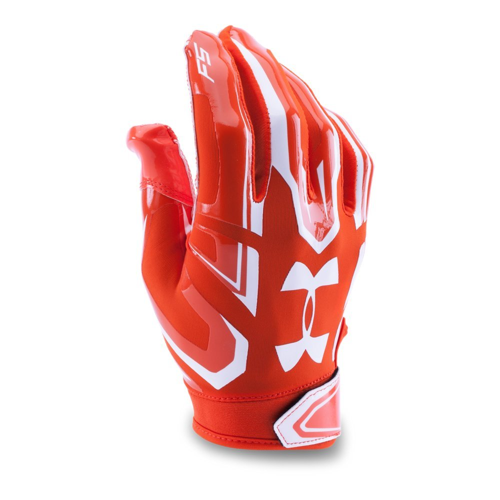 Under Armour Boys' Youth F5 Football Gloves,Dark Orange/White, Small by Under Armour (Image #1)