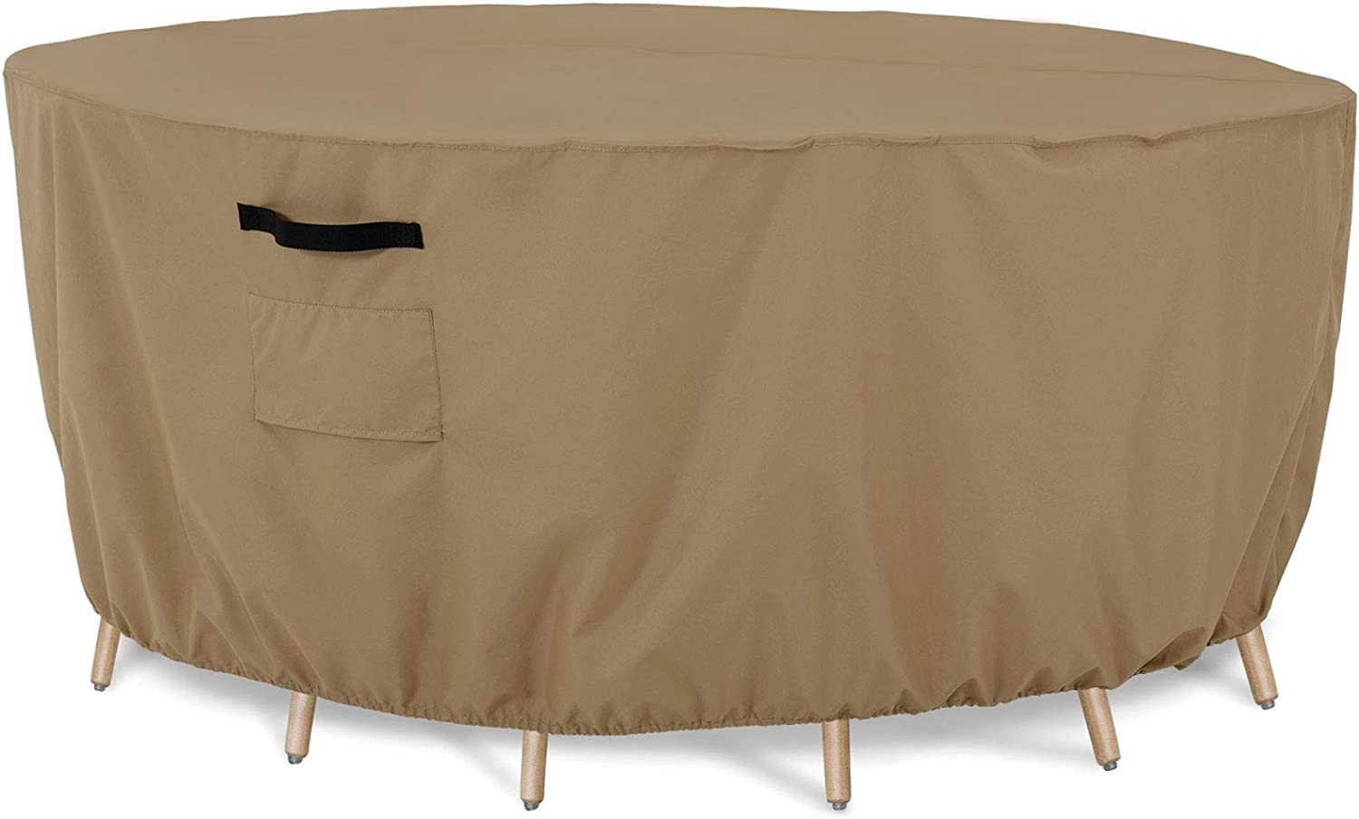 Tempera Round Patio Furniture Cover, Outdoor Table, Sectioal Sofa Set Cover, Tear Resistant, Anti-UV Outside Table Cover Waterproof, Taupe, 72 inches Diameter