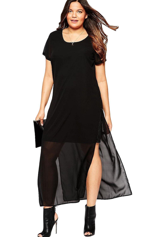 MAX MALL Damen Plus Size Rundhals Maxi-Partei-Kleid Chiffon Overlay ...