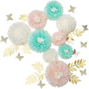 Mybbshower DIY Paper Flower Decorations for Wall Backdrop Bridal Shower Decorations Nursery Decor Wedding Centerpiece Set of 27 (Peach Mint Ivory)
