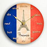 French Flag France 12%22 Silent Wall Clo