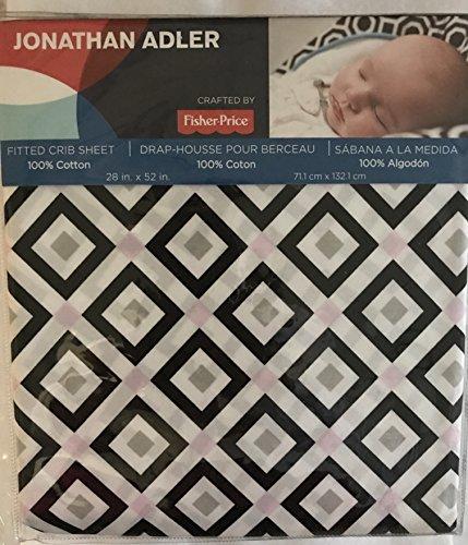Fisher Price Sheets (Jonathan Adler Fitted Pink, White, Black Grey Diamond Crib Sheet)