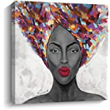 Pigort African American Wall Art Black Art Canvas Paintings for Wall Modern Living Room Bedroom Wall Décor Framed Ready to Ha