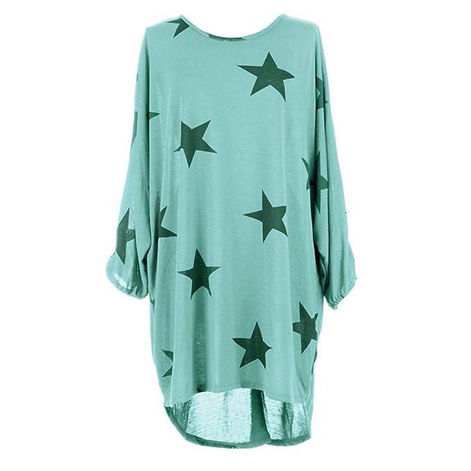 Mujeres Suelto Camiseta Vestido Estrella Demasiado Grande Túnica Blusa Casual Suéter Mujeres Ronda Cuello 3/